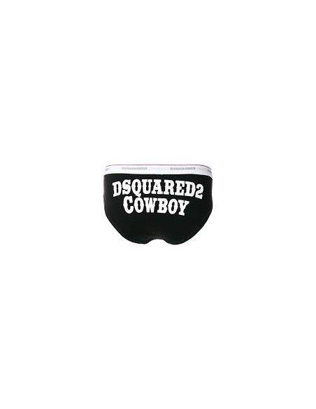 Dsquared2 - Slip nero con elastico logato e stampa retro cowboy per uomo  