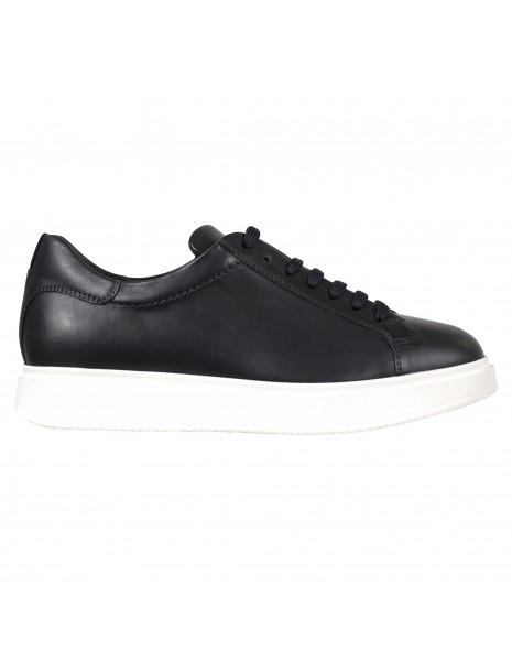 Antica Cuoieria - Sneakers blu basse pelle per uomo | 22202-r-v55