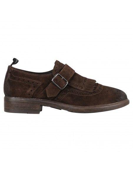 Antica Cuoieria - Scarpa marrone camoscio frangia e fibbia per uomo |