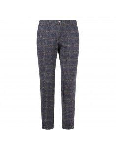 Pantalone blu tasca a filo check