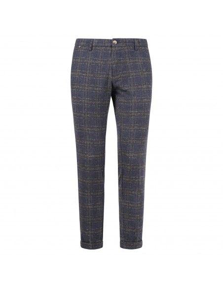 AT.P.CO - Pantalone blu tasca a filo check per uomo | a211sasa45 tf111/to 780