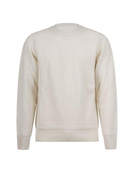 +39 Masq - Maglione girocollo bianco con lavorazione per uomo   masq4220-7-00