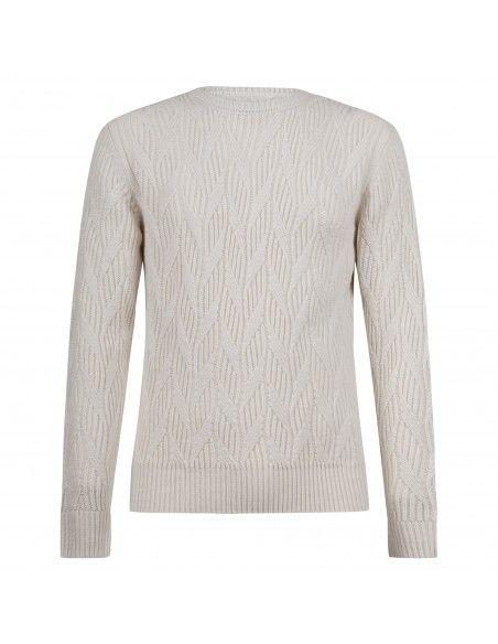 Officina36 - Maglione girocollo bianco con lavorazione per uomo | cutc189 bianco