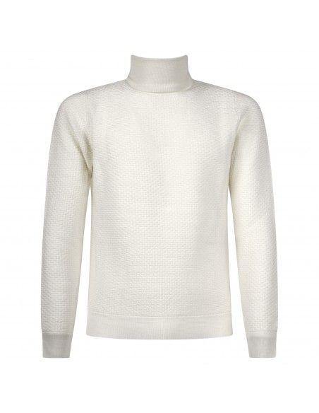 +39 Masq - Dolcevita bianco con lavorazione per uomo | masq9127-12-00 125