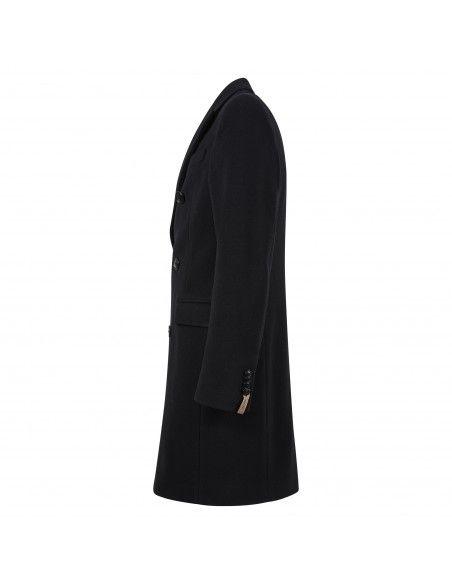 Paoloni - Cappotto nero doppiopetto per uomo | 2711c227 191625 99