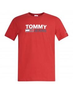 T-shirt rossa manica corta  con stampa logo