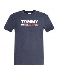 T-shirt blu manica corta con stampa logo