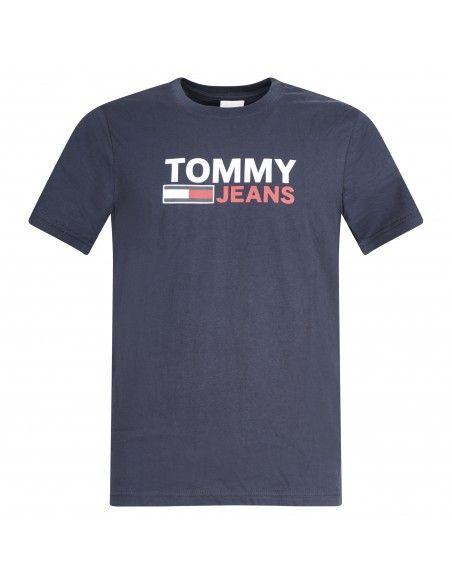 Tommy Jeans - T-shirt blu manica corta con stampa logo per uomo | dm0dm10214c87