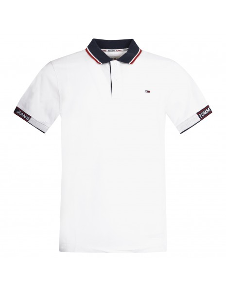 Tommy Jeans - Polo bianca manica corta con colletto blu per uomo | dm0dm10326ybr