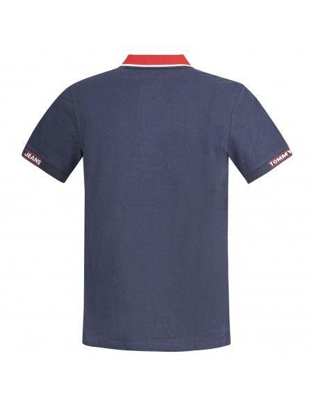 Tommy Jeans - Polo blu manica corta con colletto rosso per uomo | dm0dm10326c87