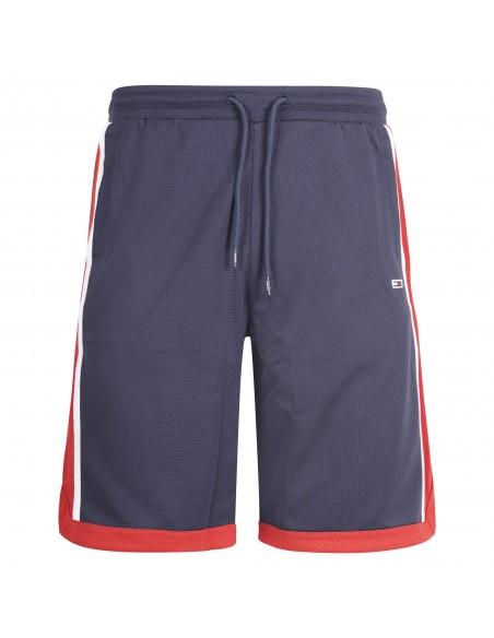 Tommy Jeans - Bermuda blu stile basketball con banda logo laterale per uomo  