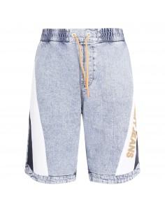Bermuda jeans denim chiaro con ricamo logo laterale