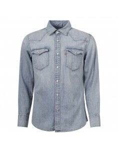 Camicia jeans denim chiaro con tasche sul petto
