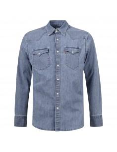 Camicia jeans denim medio con tasche sul petto