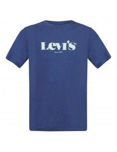 T-shirt azzurra manica corta con stampa logo