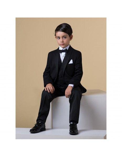 Etienne chic - Abito smoking sciallato nero per bambino per uomo |