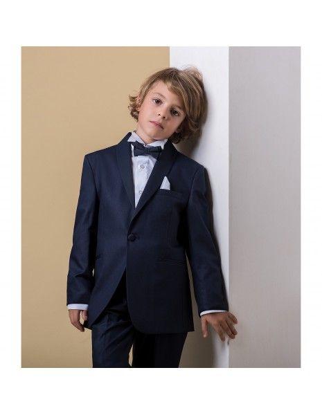 Etienne chic - Abito smoking sciallato blu per bambino per uomo  