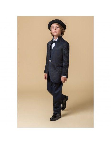 Etienne chic - Abito coreano damascato blu per bambino per uomo  