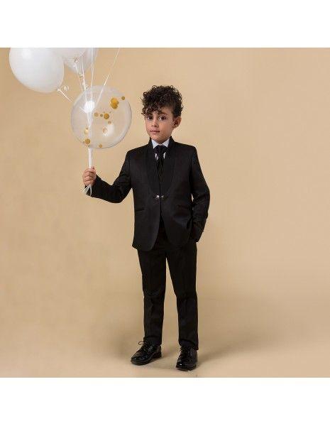 Etienne chic - Abito coreano sciallato nero per bambino per uomo  