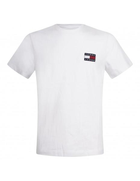 Tommy Jeans - T-shirt bianca manica corta con patch logo per uomo |