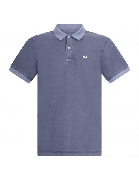 Tommy Jeans - Polo blu manica corta con patch logo per uomo | dm0dm10586c87