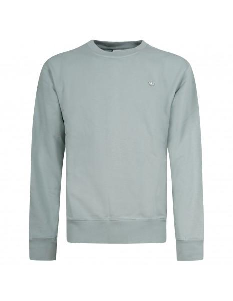 Adidas Originals - Felpa verde girocollo con patch logo per uomo | gn3372