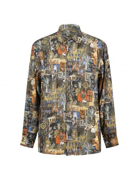 Portofiori - Camicia multicolore con stampa dipinto all over per uomo |