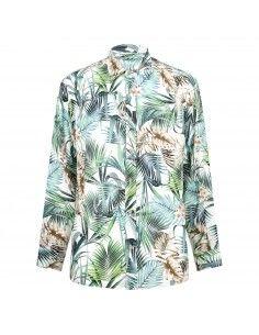 Camicia multicolore con stampa hawaiana all over