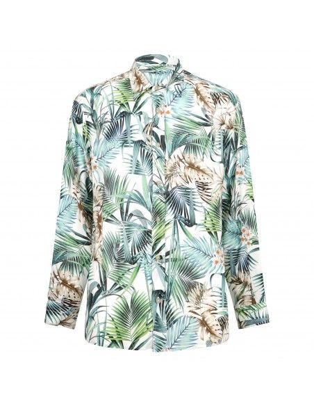 Portofiori - Camicia multicolore con stampa hawaiana all over per uomo |