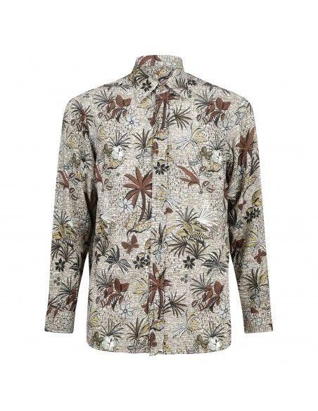 Portofiori - Camicia multicolore con stampa palme all over per uomo | garofano