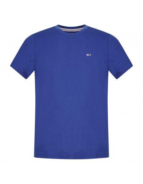 Tommy Jeans - T-shirt azzurra manica corta con patch logo per uomo |