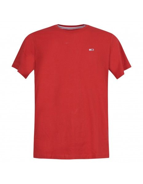 Tommy Jeans - T-shirt rossa manica corta con patch logo per uomo | dm0dm10101xnl