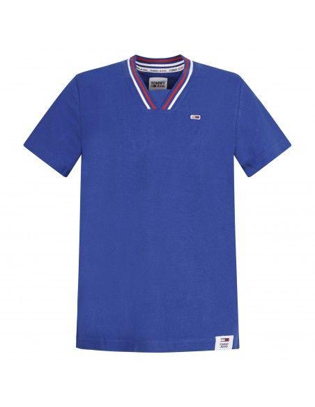 Tommy Jeans - T-shirt azzurra manica corta con patch logo per uomo  