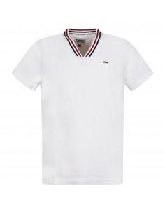 T-shirt bianca manica corta con patch logo