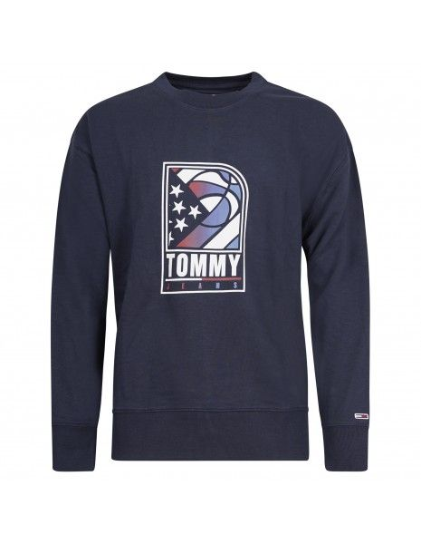Tommy Jeans - Felpa blu girocollo con stampa logo per uomo | dm0dm10661c87