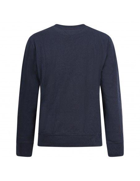 Tommy Jeans - Felpa blu girocollo con logo ricamato per uomo | dm0dm10635c87