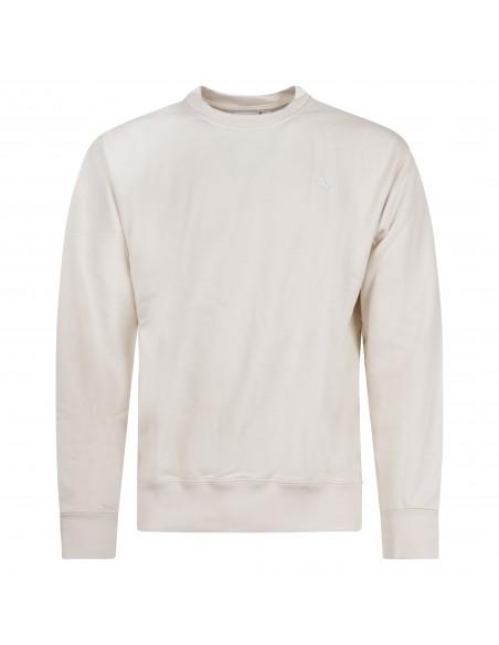 Adidas Originals - Felpa beige girocollo con patch logo per uomo   gn3375