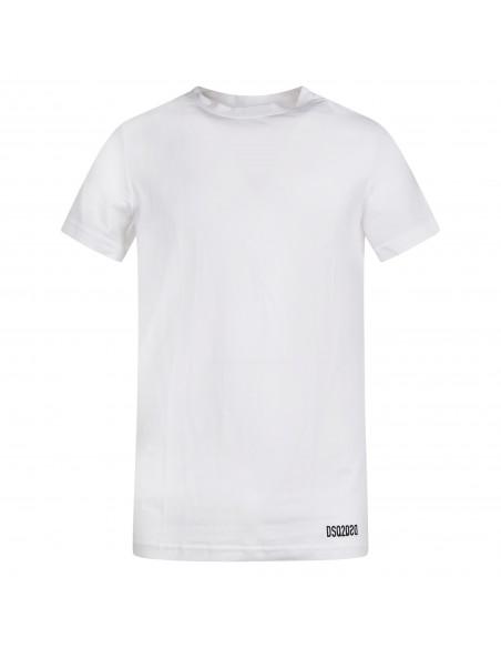 Dsquared2 - T-shirt bianca manica corta con stampa logo per uomo   d9m203490 100