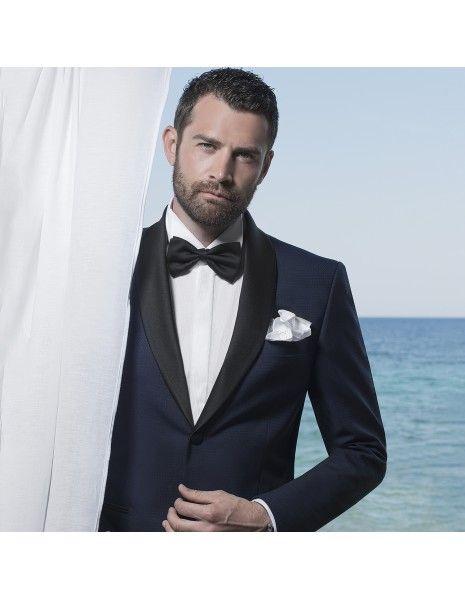 Angelo Toma - Abito smoking rever sciallato blu per uomo |
