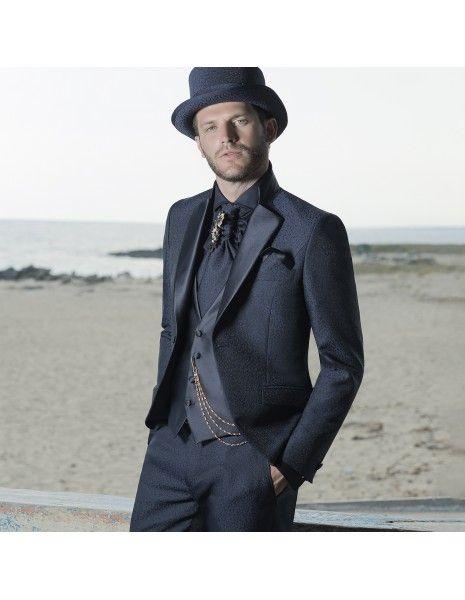Angelo Toma - Abito damascato blu per uomo |