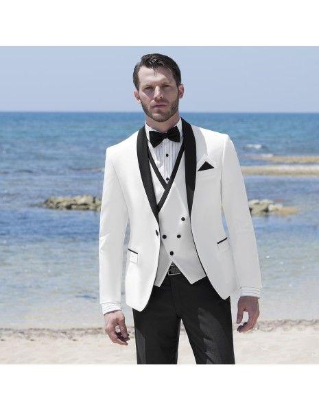 Angelo Toma - Abito smoking rever sciallato bianco per uomo |