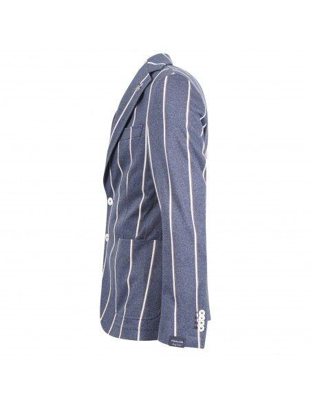 Paoloni - Giacca blu jersey rigata per uomo | 3011g927 211053 88