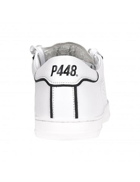P448 - Scarpa bianca bordata nena in pelle con logo per uomo | s21john-m outline