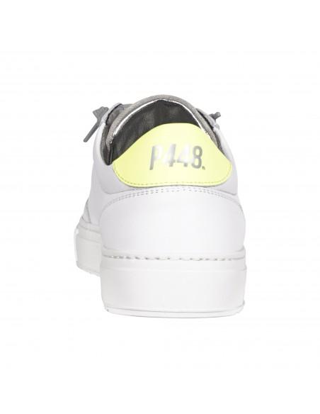 P448 - Scarpa bianca in pelle con logo per uomo   s21bsoho whi/gyel