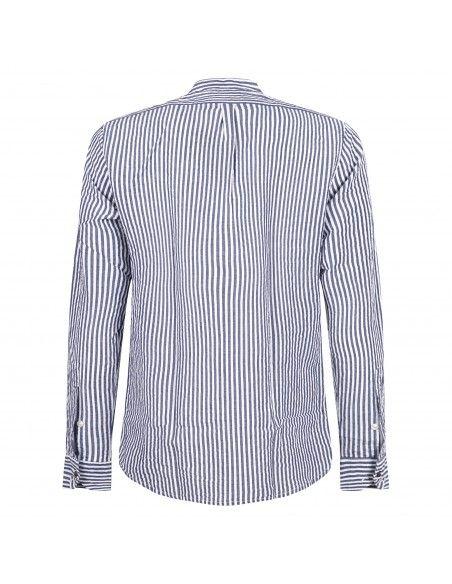 Officina36 - Camicia blu a righe coreana per uomo | 3837r grover 03837r7645 blu
