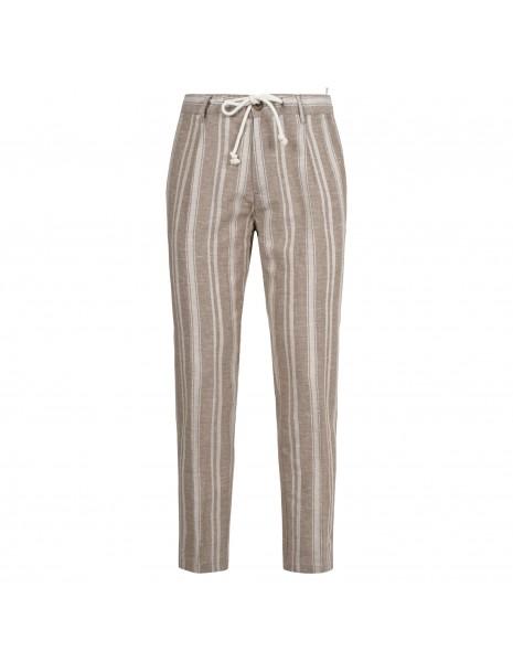 Officina36 - Pantaloni beige rigato con coulisse per uomo   2822tp gaspare