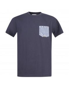 T-shirt blu manica corta con taschino sul petto