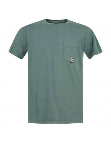 Roy Roger's - T-shirt verde manica corta con taschino sul petto per uomo |
