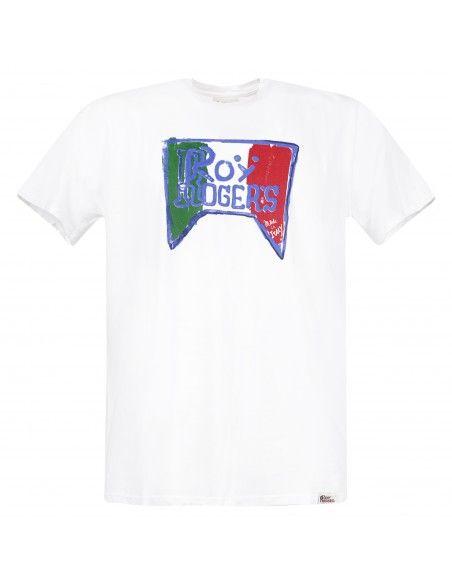 Roy Roger's - T-shirt bianca manica corta con stampa logo per uomo |
