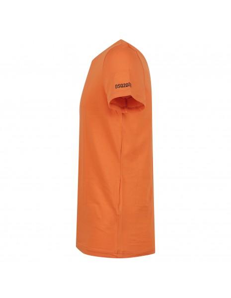 Dsquared2 - T-shirt arancione manica corta con stampa logo per uomo | d9m203510